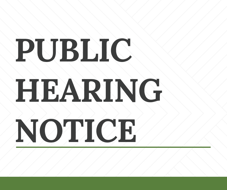 Public Hearing Notice Cover